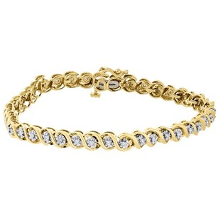 10k Yellow Gold Round Cut Diamond Fashion S-link Tennis Bracelet 7.25 0.50 Ct.