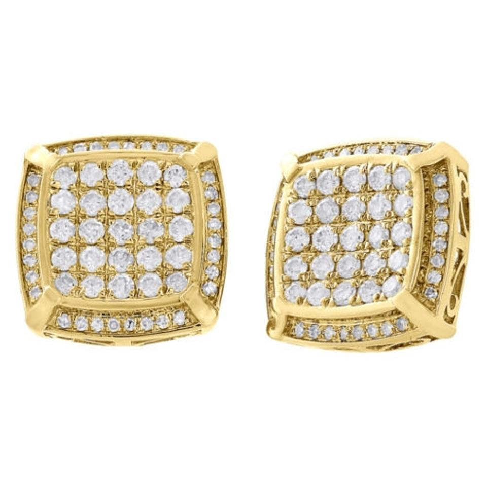 10k Yellow Gold Round Cut Diamond Studs Halo Frame Square 14mm Earrings  134 Ct