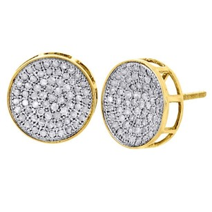 Other 10k Yellow Gold Round Diamond Circle Pave Studs Concave 12mm Mens Earrings 1 Ct.