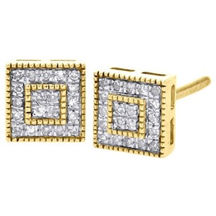 10k Yellow Gold Round Diamond Milgrain Square Pave Studs 6.5mm Earrings 0.15 Ct.