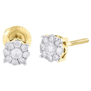10k Yellow Gold Round Diamond Solitaire Look Flower Cluster Stud Earrings 12 Ct
