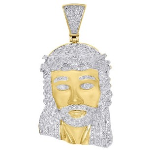 10k Yellow Gold White Diamond Inch Mini Jesus Piece Head Cross Pendant 1 Ct.