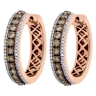 Other 14k Rose Gold Brown And White Diamond Ladies Hoop Earrings Huggie Prong Set 1 Ct