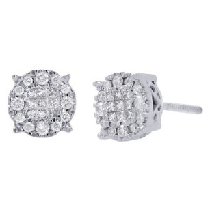14k White Gold Princess Diamond Soleil Collection Circle Stud Earrings 0.25 Ct.