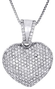 14k White Gold Round Diamond Puffy Heart Pendant Charm 18 Chain Set 0.62 Ct.