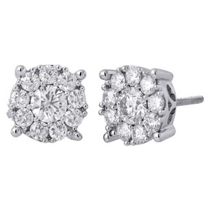 14k White Gold Solitaire Accent 9.5mm Round Diamond Flower Stud Earrings 1.50 Ct