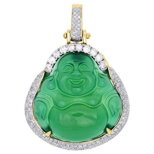 Jewelry For Less 14k Yellow Gold Diamond Fat Bald Buddha Budai Pu-tai Pendant Mens Charm 1.02 Ct.