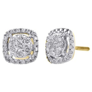 14k Yellow Gold Round Diamond 7.5mm Flower Cluster Square Stud Earrings 0.38 Ct.