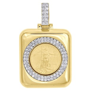 Jewelry For Less 24k Yellow Gold 14 Oz Lady Liberty Coin Pendant 10k Diamond Mounting 1.10 Ct.