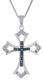 .925 Sterling Silver Blue Diamond Cut Out Budded Cross Pendant W Chain 0.10 Ct.