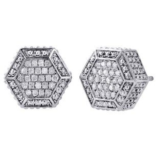 Jewelry For Less .925 Sterling Silver Diamond Studs 3d Hexagon Shape 12mm Pave Earrings 0.33 Ct.