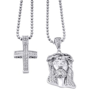 Jewelry For Less 925 Sterling Silver Genuine Diamond Mini Pave Jesus Pendant And Cross Set .88 Ct