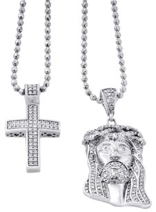 Other 925 Sterling Silver Genuine Diamond Mini Pave Jesus Pendant And Cross Set .88 Ct