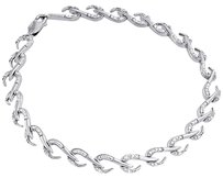 .925 Sterling Silver Ladies Round Diamond Hook Design Link 7.5 Bracelet .15 Ct.