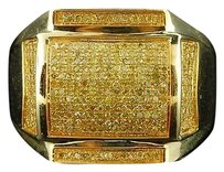 Yellow,Diamond,Pinky,Ring,Mens,10k,Yellow,Gold,Round,Cut,Statement,Band,.46,Ct.