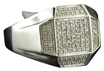 Diamond,Pinky,Ring,Mens,Domed,10k,White,Gold,Round,Cut,Pave,Band,0.33,Ct.