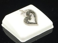 Jewelry For Less Black Diamond Heart Pendant 10k White Gold Round Cut Pave Love Charm 0.84 Tcw.