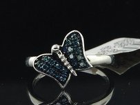 Blue Diamond Butterfly Fashion Cocktail Ring .925 Sterling Silver Fashion Band