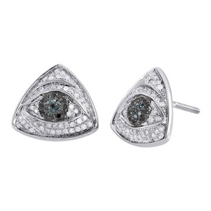 Jewelry For Less Blue Diamond Evil Eye Studs 10k White Gold Round Pave Triangle Earrings 0.55 Ct.