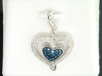 Jewelry For Less Blue Diamond Heart Pendant Ladies 10k White Gold Round Pave Love Charm 0.27 Tcw.