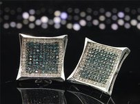 Other Blue Diamond Kite Earrings 10k White Gold Round Pave Square Studs 0.91 Tcw.