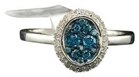 Blue Diamond Oval Fashion Ring 10k White Gold Flower Cocktail Band 0.40 Ct.