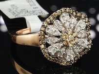 Jewelry For Less Brown Diamond Flower Cocktail Band 10k Rose Gold Fashion Right Hand Ring 0.73 Ct