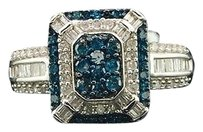Blue,Diamond,Cocktail,Ring,10k,White,Gold,Square,Halo,Fashion,Band,0.81,Ct.
