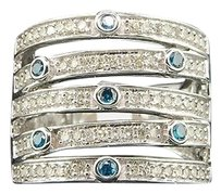 Blue,Diamond,5,Row,Fashion,Band,10k,White,Gold,Designer,Cocktail,Ring,0.83,Ct.