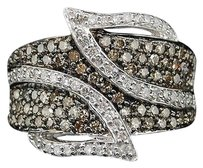 Ladies,10k,White,Gold,Champagne,Brown,1,Ct,Diamond,Leaf,Ring,Engagement,Band