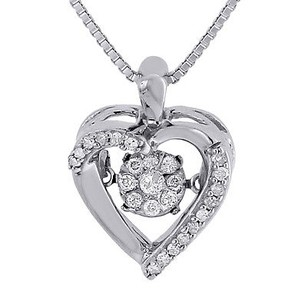 Jewelry For Less Dancing Diamond Heart Pendant Ladies 10k White Gold With Chain Necklace 0.16 Ct.