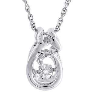 Jewelry For Less Dancing Diamond Necklace .925 Sterling Silver Mother Daughter Pendant W Chain