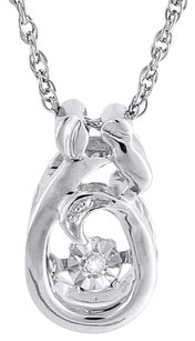 Other Dancing Diamond Necklace .925 Sterling Silver Mother Daughter Pendant W Chain