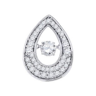 Jewelry For Less Dancing Diamond Teardrop Slide Pendant Ladies 10k White Gold W Chain 12 Tcw.
