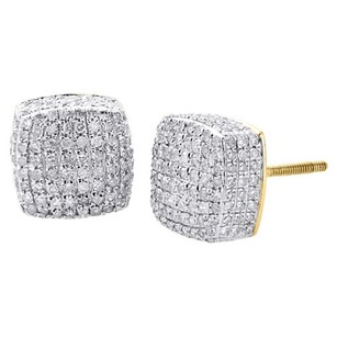 Jewelry For Less Diamond 3d Cube Studs Mens 10k Yellow Gold Round Pave Square Earrings 1.25 Ct.