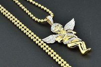 Jewelry For Less Diamond Angel Pendant .925 Sterling Silver Yellow Finish Charm Moon-cut Chain