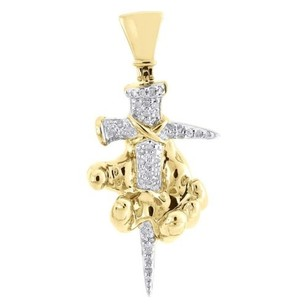 Jewelry For Less Diamond Arm Dagger Pendant Mens 10k Yellow Gold Round Pave Knife Charm 0.20 Tcw.