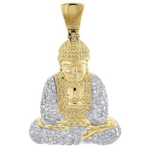 Jewelry For Less Diamond Buddha Pendant Mens 10k Yellow Gold Round Pave Meditation Charm 0.63 Tcw