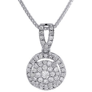 Jewelry For Less Diamond Circle Pendant 10k White Gold Round Charm Necklace With Chain 0.38 Tcw