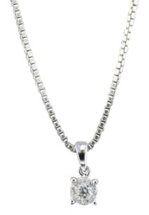 Diamond Circle Pendant 14k White Gold 0.11 Ct Round Cut Charm With Chain