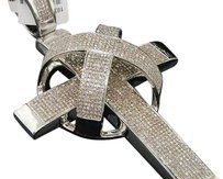 Diamond Cross Charm Mens 10k White Gold Domed X Round Pave Pendant Tcw.
