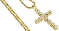Jewelry For Less Diamond Cross Pendant Mens Round Cut Yellow Gold Charm W Franco Chain 2.65 Ct.