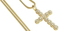 Diamond Cross Pendant Mens Round Cut Yellow Gold Charm W Franco Chain 2.65 Ct.