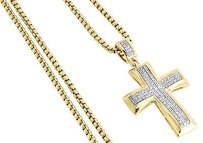 Jewelry For Less Diamond Cross Pendant Yellow Gold Mens Pave Charm 0.43 Ct. Round Box Chain Set