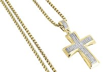 Diamond Cross Pendant Yellow Gold Mens Pave Charm 0.43 Ct. Round Box Chain Set