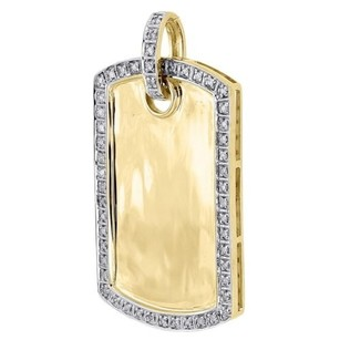 Jewelry For Less Diamond Dog Tag Pendant Mens 10k Yellow Gold Round Pave Id Charm 0.18 Tcw.