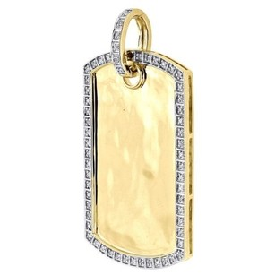 Jewelry For Less Diamond Dog Tag Pendant Mens 10k Yellow Gold Round Pave Id Charm 0.26 Tcw.