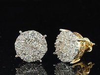 Jewelry For Less Diamond Earrings Ladies 14k Yellow Gold Princess Round Cut Studs Tcw.