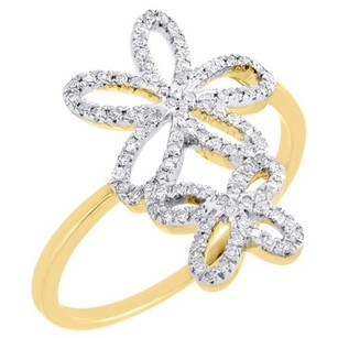 Jewelry For Less Diamond Flower Cocktail Ring 10k Yellow Gold Round Pave Fashion Band 0.20 Tcw.