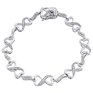 Jewelry For Less Diamond Heart Infinity Bracelet Ladies .925 Sterling Silver Pave Link 0.25 Tcw